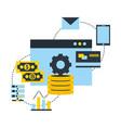 fintech connection bitcoin money data bank card vector image vector image