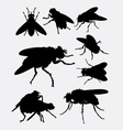 Flies insect animal silhouette vector image vector image