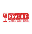 fragile symbol isolated grunge box sign vector image vector image