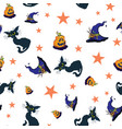 fun halloween cats and pumpkins repeat pattern vector image vector image