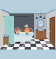 girls bathing on the bathroom vector image