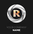 golden letter r logo symbol in the circle shape vector image vector image