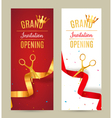 Grand Opening invitation banner Golden and red vector image vector image