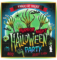 Halloween party horror night poster design vector image vector image