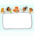 happy and funny children stand around a large vector image vector image