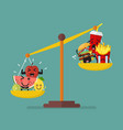 healthy food and junk food balancing on scales vector image