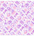 influenza seamless pattern with thin line icons vector image