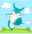 joyful fun blue bunny jumps across the lawn vector image vector image