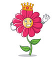 king pink flower character cartoon vector image vector image