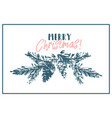 Merry christmas tree spruce cone hand drawn branch