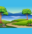 nature landscape with river and mountain vector image vector image