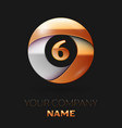 number six logo symbol in golden-silver circle vector image vector image
