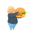 overweight boy with a huge burger cute chubby vector image vector image