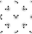panda pattern seamless black vector image vector image