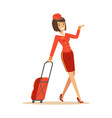 pretty smiling stewardess carrying her luggage vector image vector image
