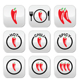 Red hot chili peppers buttons set vector image vector image