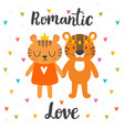 romantic greeting card with two cute tigers hand vector image vector image