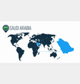 saudi arabia location on the world map for vector image vector image