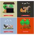 set of horse riding concept posters in flat vector image vector image