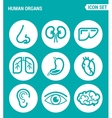 set of round icons white Drugs and medicines nose vector image