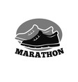 shoes for marathon emblem vector image vector image
