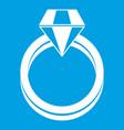 single diamond ring icon white vector image