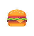 tasty burger with cheese and salad flat icon vector image