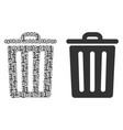 trash bin collage of binary digits vector image