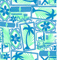 Tribal surfing palm repeat seamless pattern vector image vector image