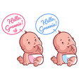 Two cute toddler Card for grandma Hello Grannie vector image vector image