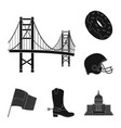 usa country black icons in set collection for vector image