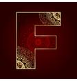 Vintage alphabet with floral swirls letter F vector image