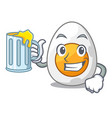 with juice peeled boiled egg on mascot cartoon vector image