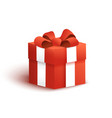 Red gift box with bow and ribbon vector image