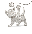 Kitten with abstract ornament vector image