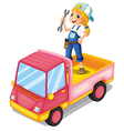 A girl standing above the pink truck vector image vector image