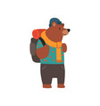 bear travelling with backpack cute cartoon animal vector image vector image