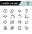 bitcoin icons modern line design set 37 vector image