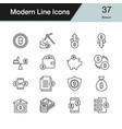 bitcoin icons modern line design set 37 vector image vector image