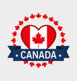 canada flag with heart shape vector image