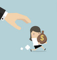 cartoon hand tries to grab running businesswoman vector image