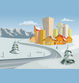 colorful winter city vector image vector image