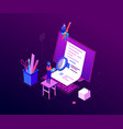 copywriting concept - modern colorful isometric vector image vector image