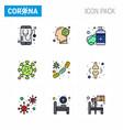 coronavirus prevention set icons 9 filled line vector image vector image