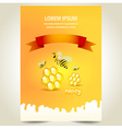 cover poster face honey mead bee honeycomb yellow vector image vector image