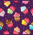 cupcake seamless pattern sweet pastries vector image