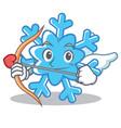 cupid snowflake character cartoon style vector image
