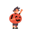 cute boy wear pumpkin scarecrow costume happy vector image