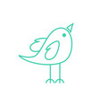 cute happy male bird tosca green coloured symbol vector image vector image