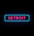 detroit neon sign bright light signboard banner vector image vector image